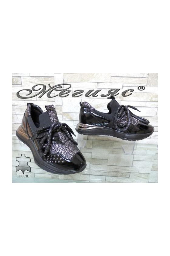 418-22-28 Дамски обувки черни  от естествена кожа
