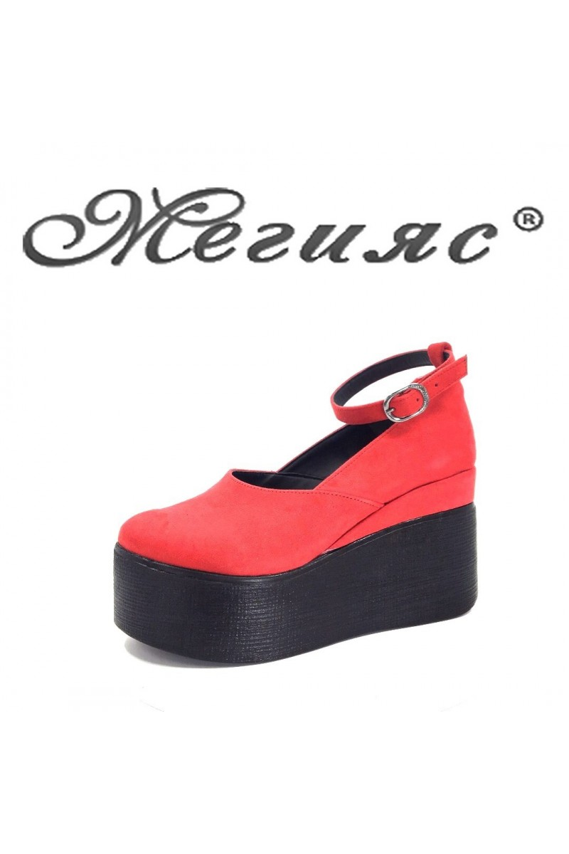 116-K Lady platform shoes red sud