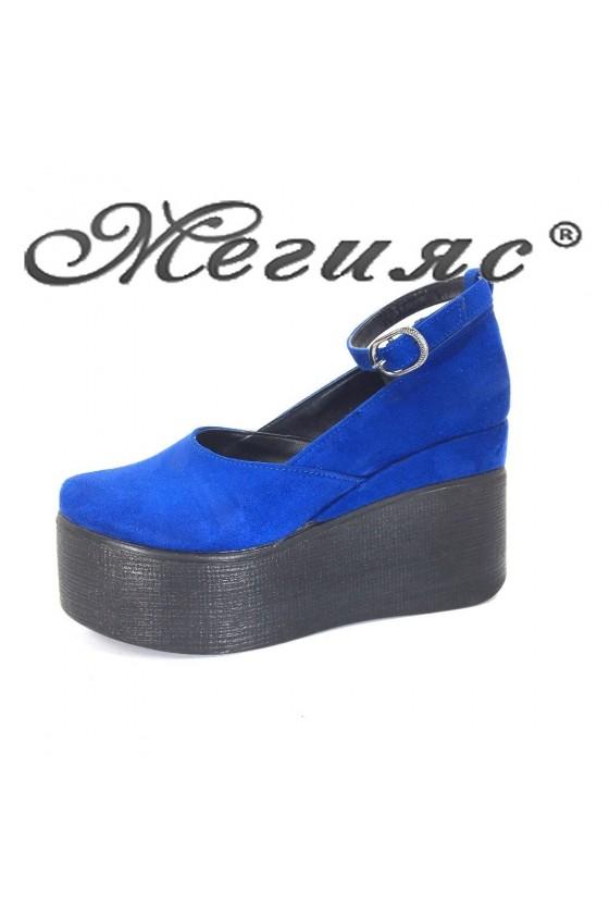 116 Дамски обувки син велур на висока платформа