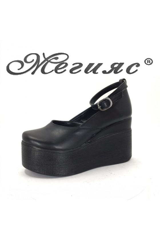 116 Women platform shoes black pu