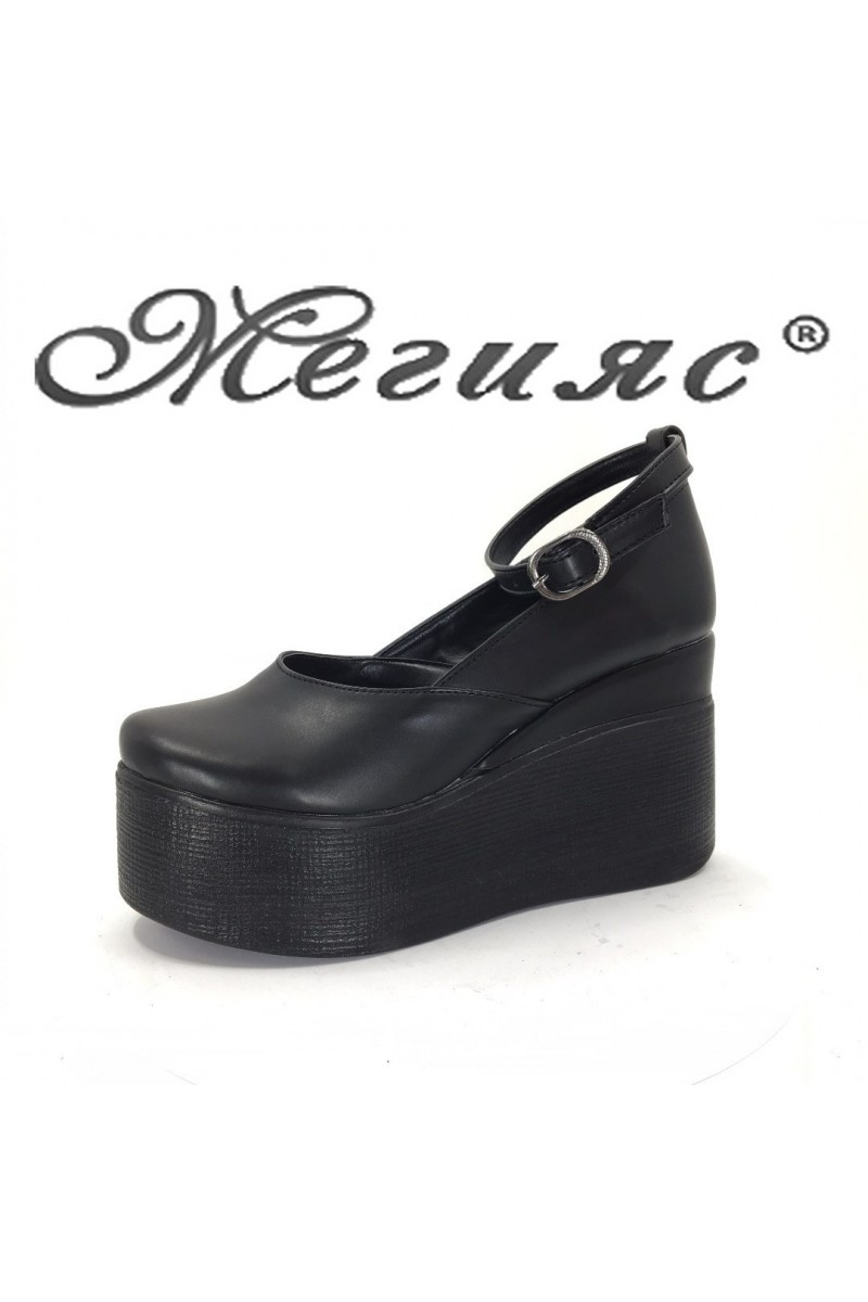 116 Women platform shoes black pu