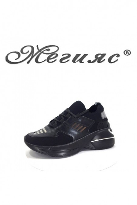 035 Lady sport shoes black pu