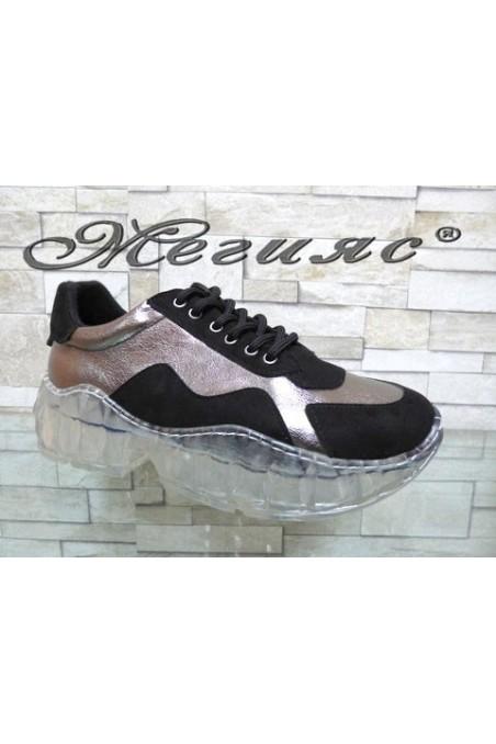 14-K Lady sport shoes black/grey pu