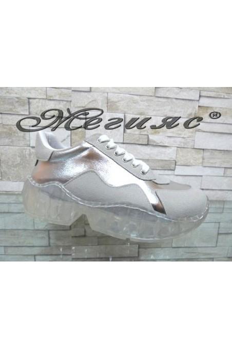 14-K Lady sport shoes beige/silver pu