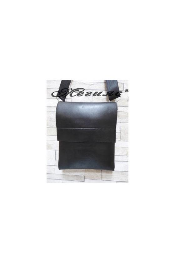 7001-3 Мъжка чанта черна от еко кожа