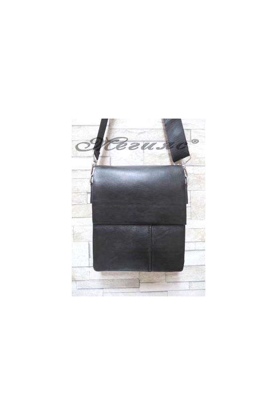 1202-2 Мъжка чанта черна от еко кожа