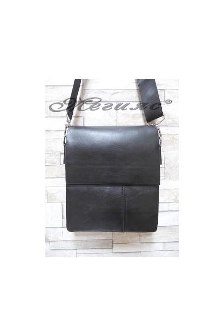 1202-3 Мъжка чанта черна от еко кожа