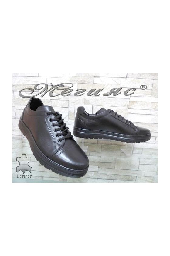 122 Men's sport shoes black leather