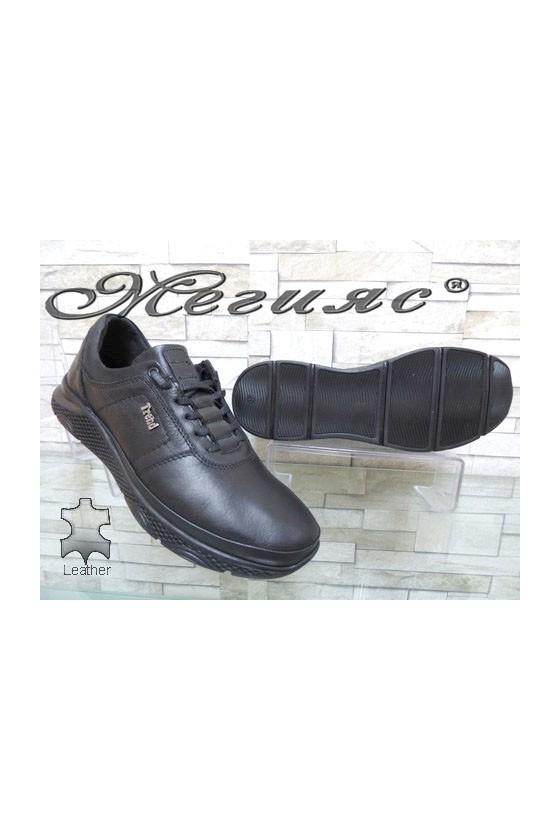 1314-16 Мъжки спортни обувки черни от естествена кожа