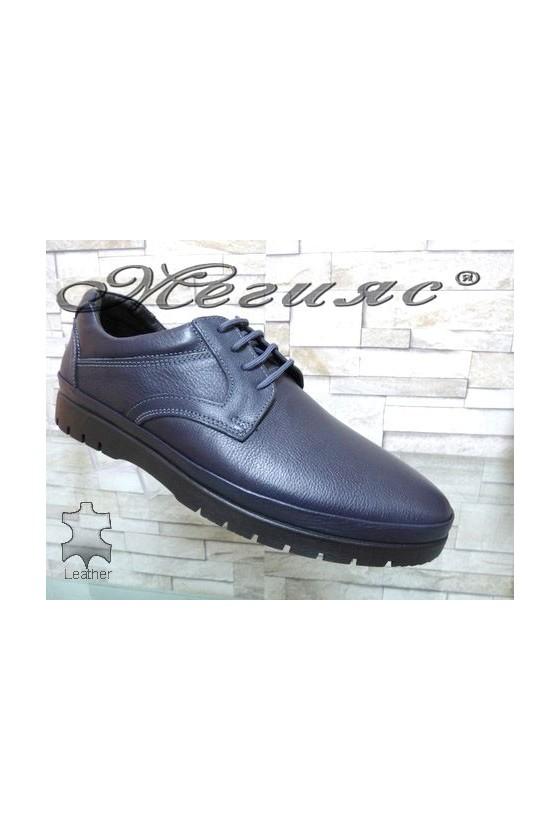 Мъжки спортни обувки от естествена кожа сини Фантазия 233-011