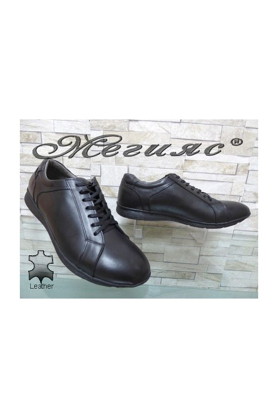160-16 XXL Men's shoes black leather