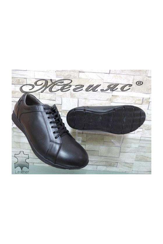 160-16 XXL Men's shoes black leather