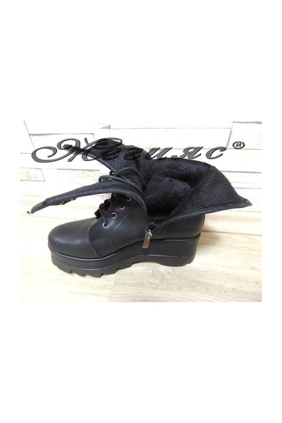 800-К Дамски боти черни на платформа от еко кожа