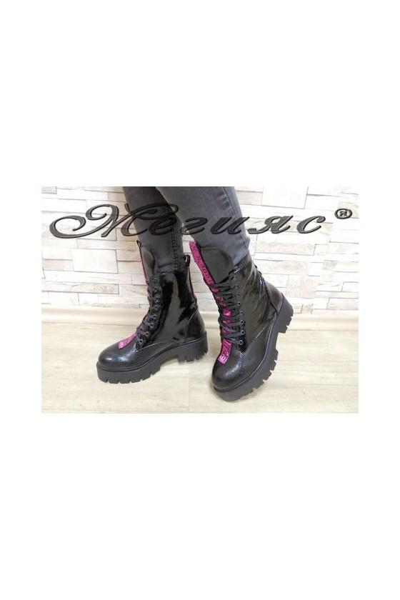 701 Women boots black+purple pu