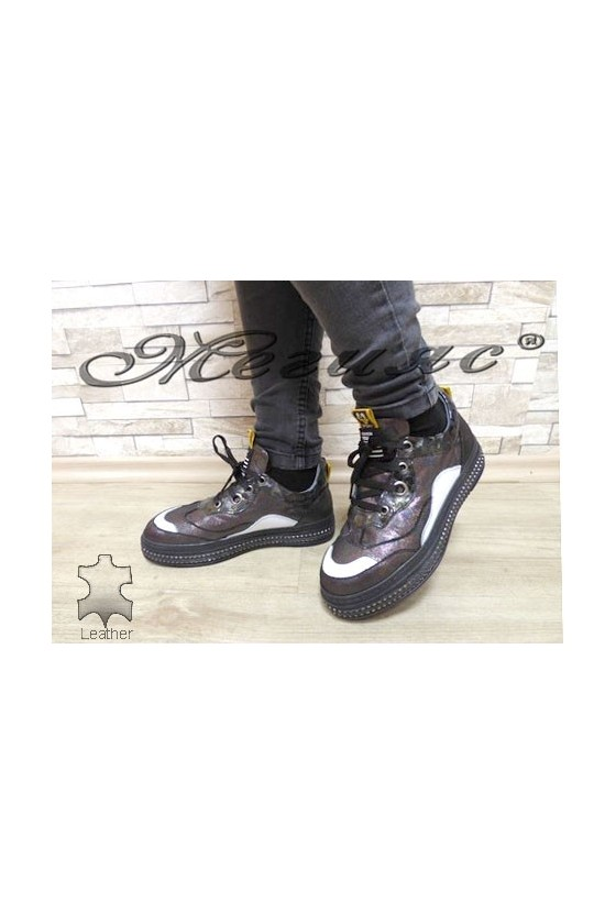 1208-47-21-39 Women shoes dark silver leather