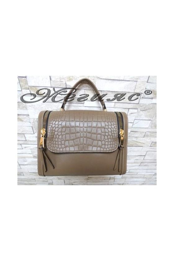 5033 Дамска чанта бежова от еко кожа