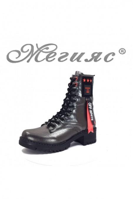 410 Women boots dark silver pu