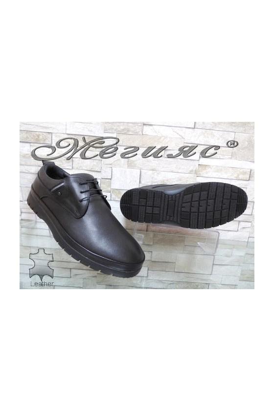 320-80 Men's shoes black leather