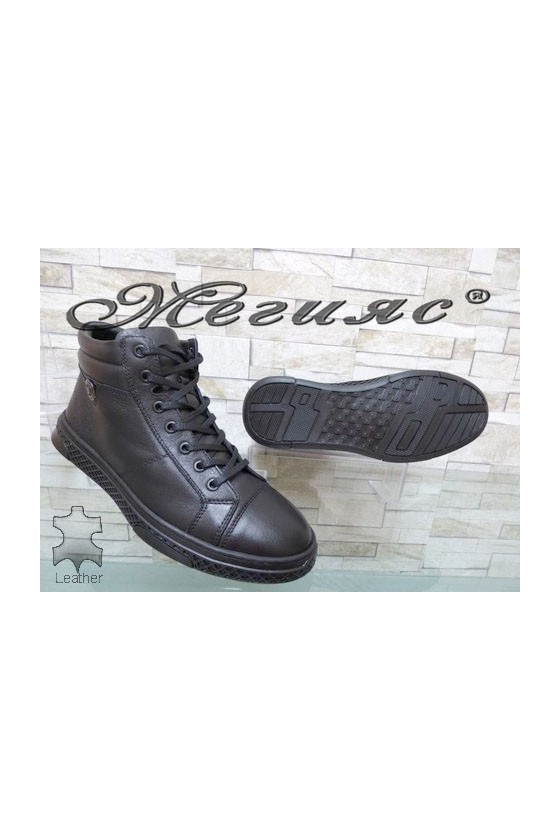 380-80 Men's boots black leather