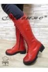 18-23 Дамски ботуши с връзки червени от естествена кожа
