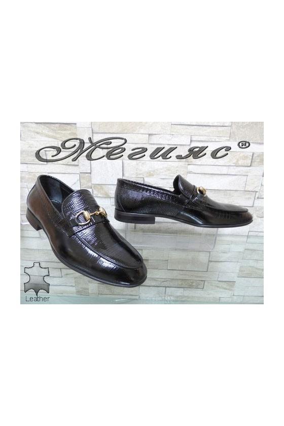 0001 Мъжки елегантни обувки черни от естествен лак с кроко шарка