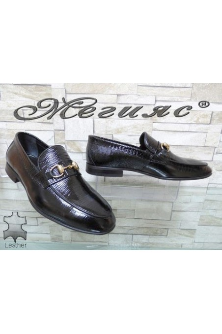 0001 Men's elegant shoes black patent