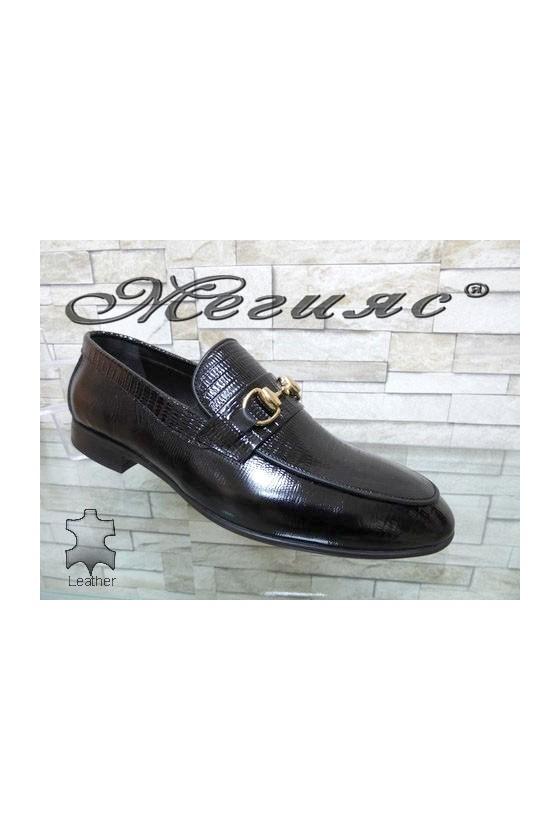 0001 Men's elegant shoes black patent