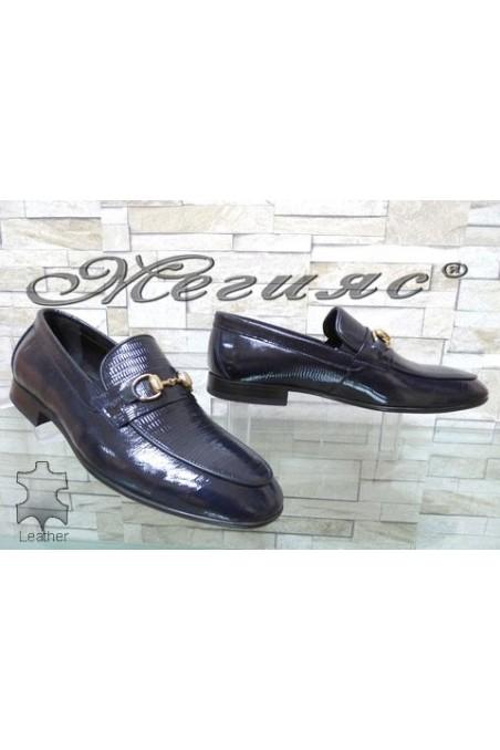 0001 Men's elegant shoes blue patent