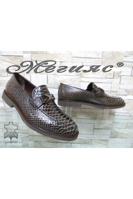 0011 Men's elegant shoes brown leather