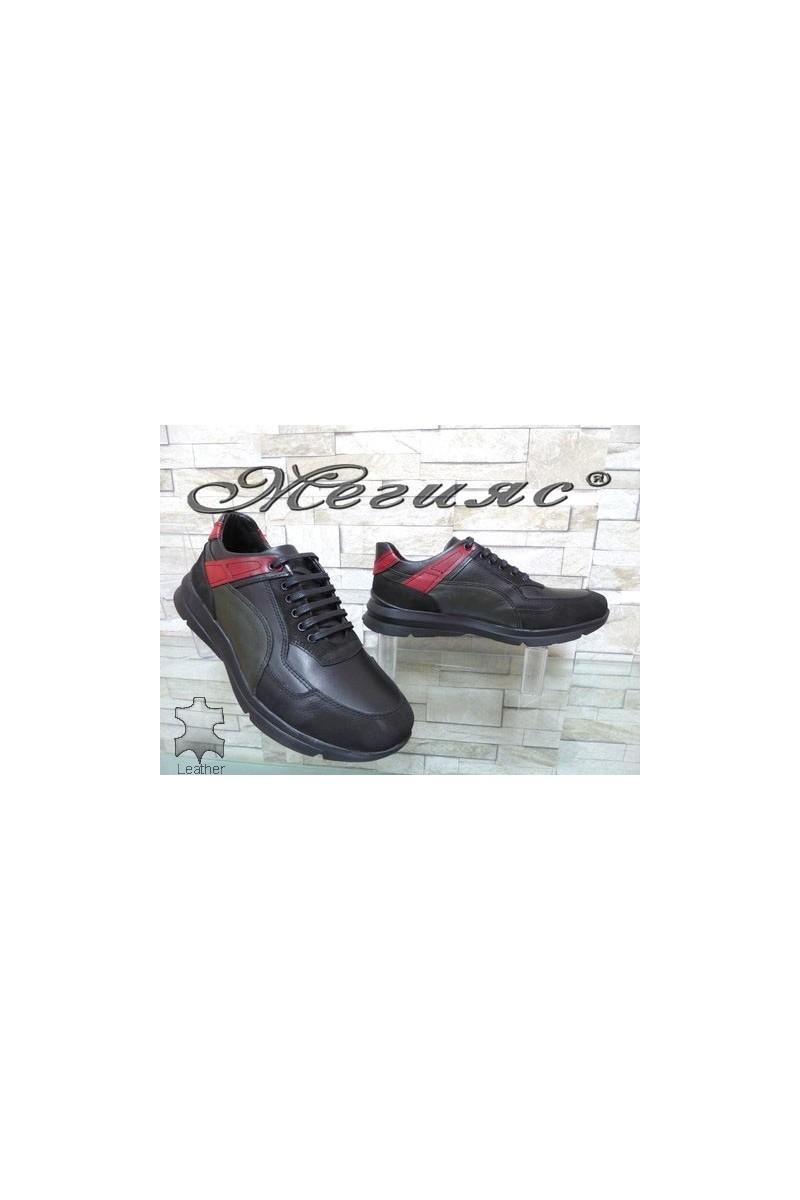 9414 Мъжки спортни обувки черни от естествена кожа