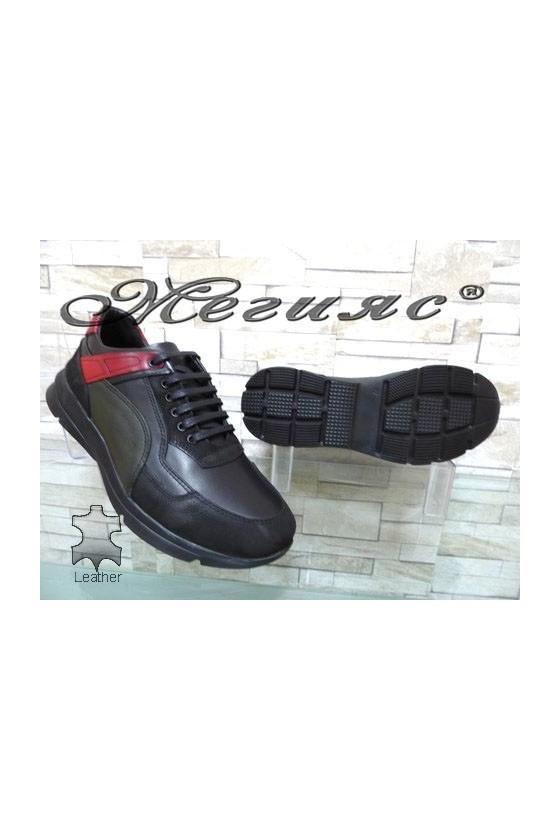 9414 Men's sport shoes black leather
