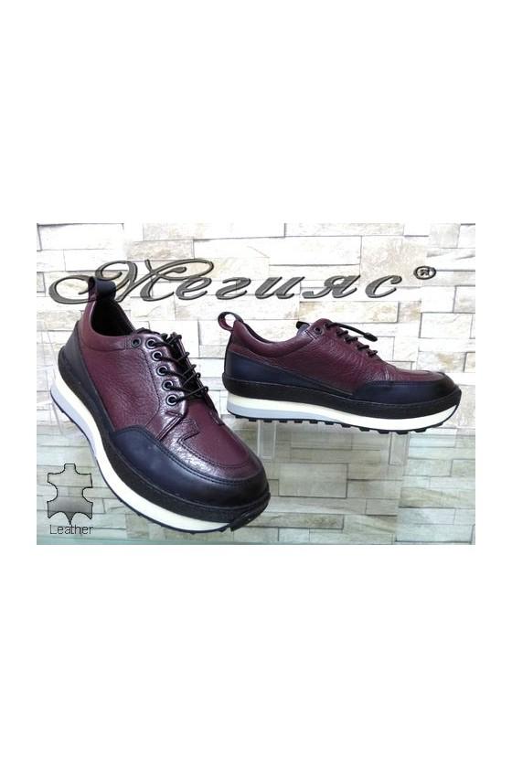 9400 Мъжки спортни обувки сини с бордо от естествена кожа