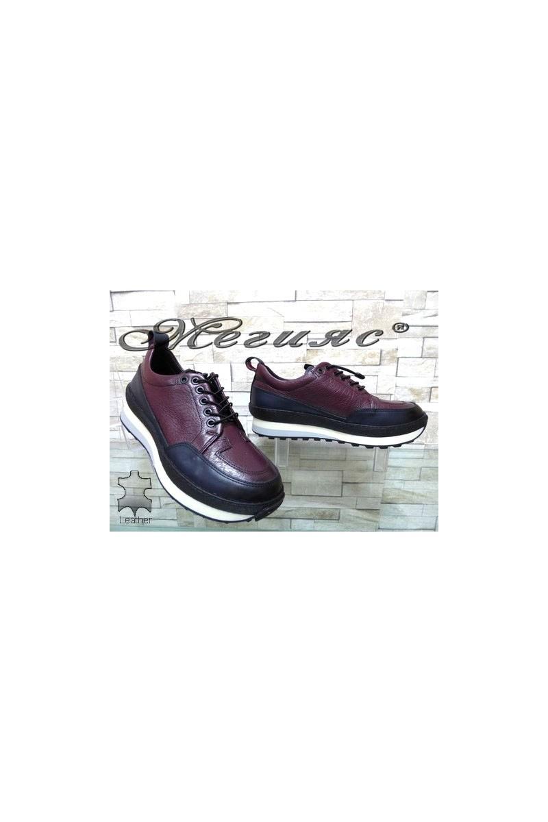 9414 Мъжки спортни обувки сини от естествена кожа