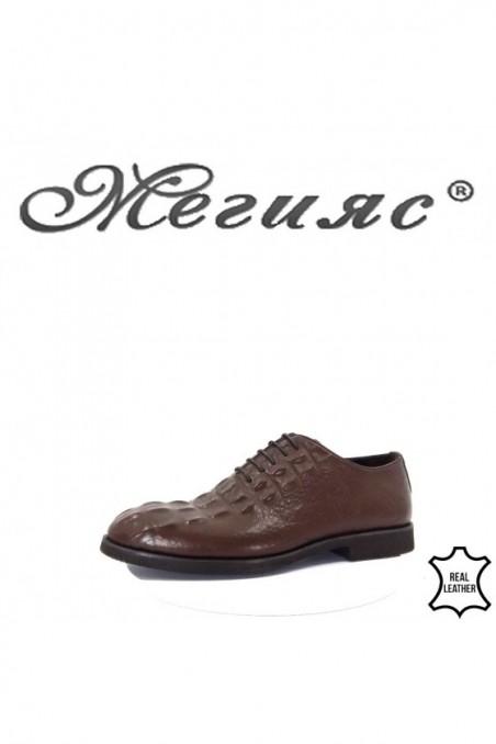 0009 Мъжки елегантни обувки кафяви от естествена кожа