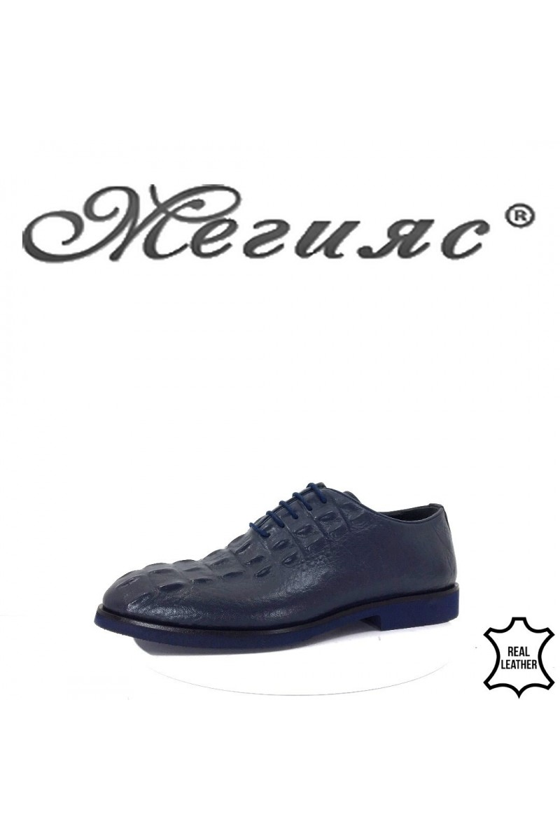 0009 Мъжки елегантни обувки сини от естествена кожа