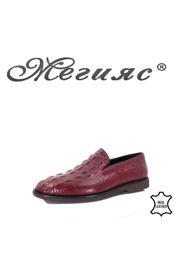 401 Men's elegant shoes wine leather