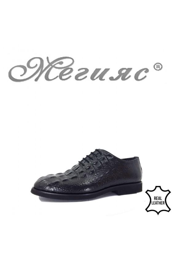 0009 Men's elegant shoes black leather