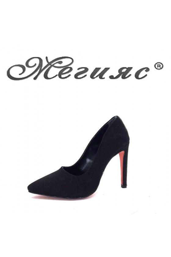 9909  Дамски обувки черен велур елегантни на висок ток