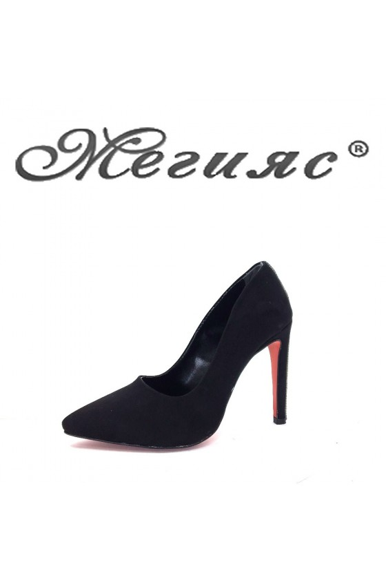 9909 Women elegant shoes black sued