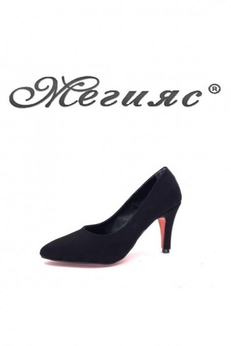 9908 Дамски обувки черен велур елегантни на висок ток