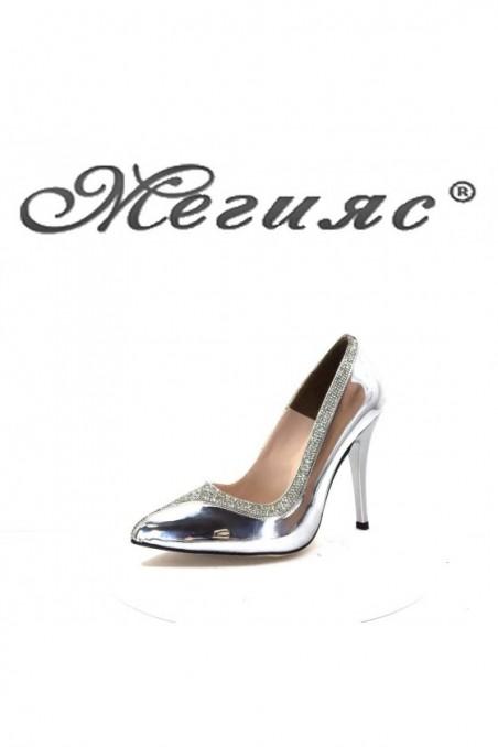 006601 Дамски обувки сив лак елегантни на висок ток