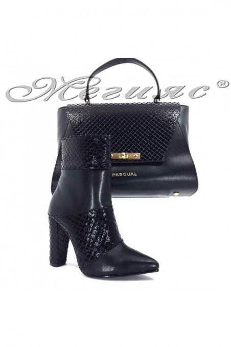 47715 Lady elegant boots black pu whith bag 7711 black pu