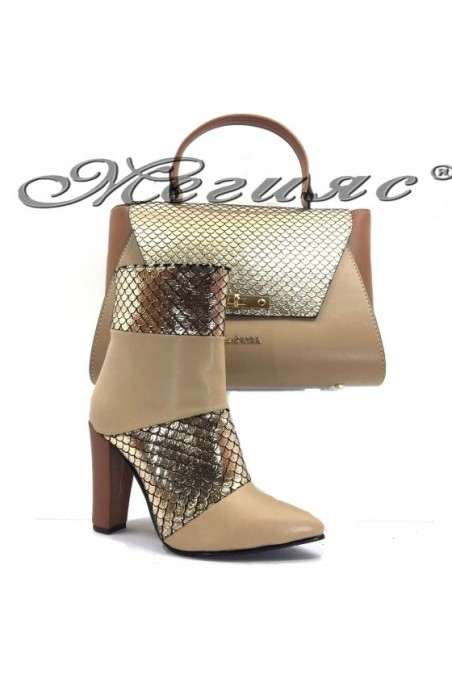 47715 Lady elegant boots beige zmq whith bag 7711