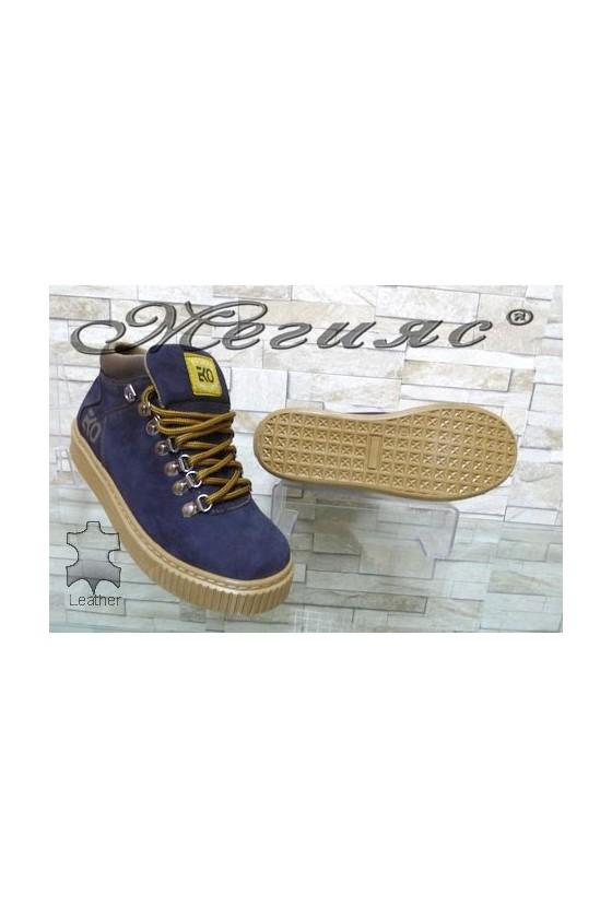 055-M Men's boots blue leather