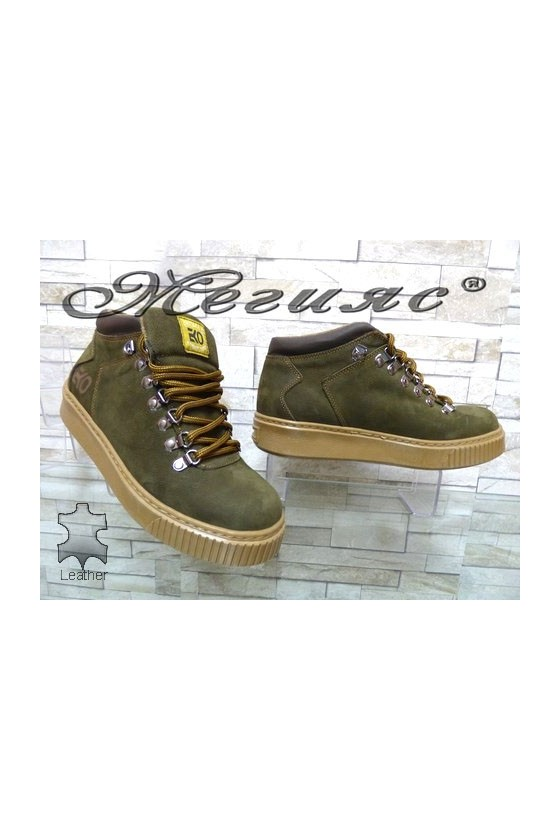 055-M Men's boots green leather