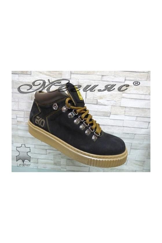 055-M Men's boots black leather