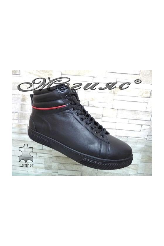 032-М Мъжки боти черни от естествена кожа