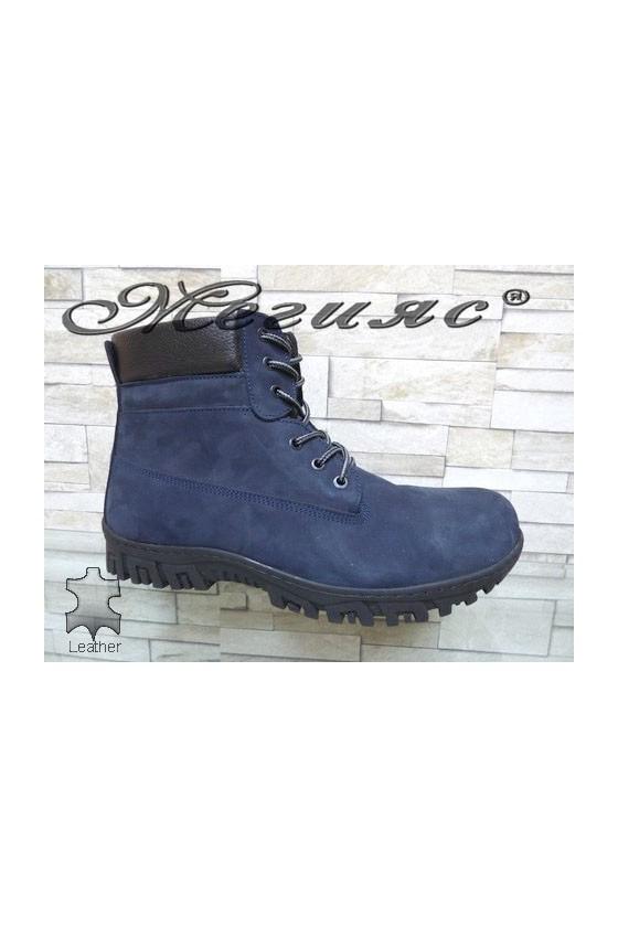 17005  XXL Men's boots blue leather