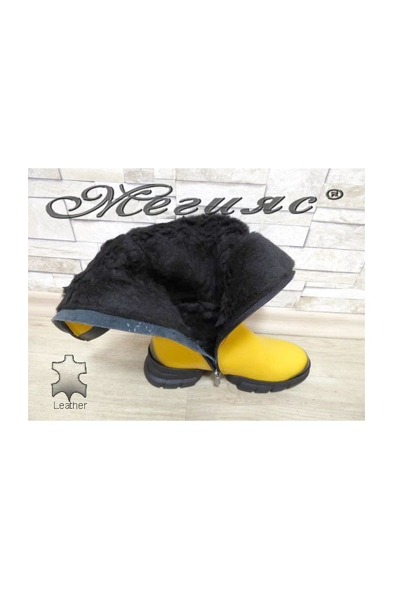 322-8 Women boots yellow leather