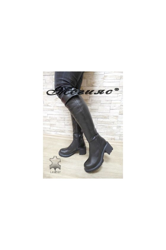 1029 Lady long boots black leather
